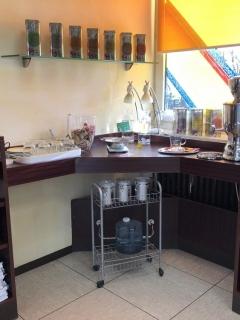 Pflanzenfarbbereich und Tee-Ecke